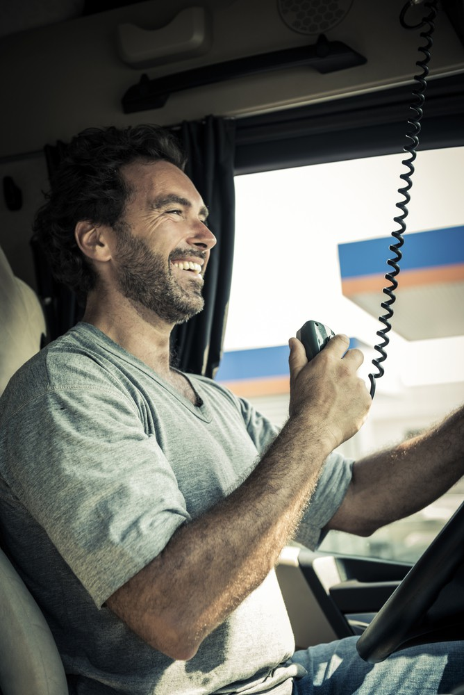 trucker with radio