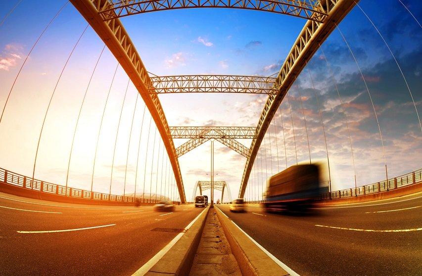 Truck Driving on Bridge