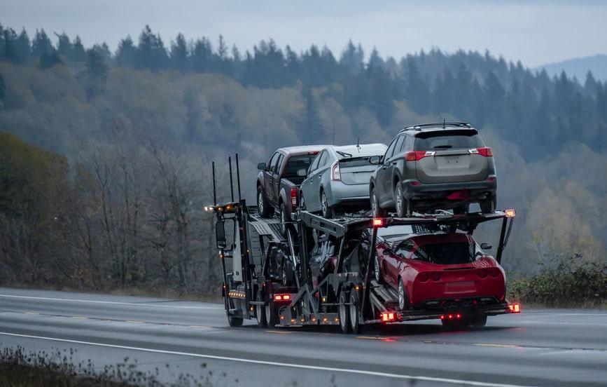 Car hauler on the highway